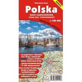 POLSKA mapa samochodowa 1:700 000 laminowana GAUSS 2016 !!