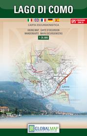 JEZIORO COMO LAGO DI COMO mapa turystyczna 1:35 000 LAC WŁOCHY