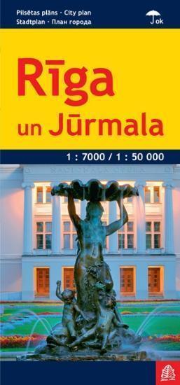 RYGA I JURMAŁA ŁOTWA Riga un Jurmala LAMINOWANY PLAN MIASTA 1:7000 / 1:50 000 JANA SETA