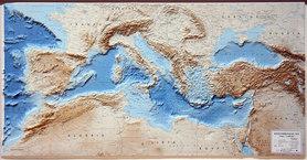 MORZE ŚRÓDZIEMNE Mediterranean Sea mapa plastyczna reliefowa 1:40 000 000 LAC