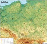POLSKA mapa ścienna OGÓLNOGEOGRAFICZNA 1:570 000 z listwami EXPRESSMAP 2016