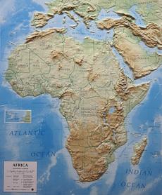 AFRYKA mapa plastyczna reliefowa 1:14 000 000 LAC