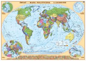 ŚWIAT ścienna mapa polityczna 1:18 000 000 EKOGRAF 2020