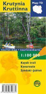 KRUTYNIA Szlak kajakowy mapa turystyczna FOLIOWANA wersja angielska/niemiecka 1:100 000 TD