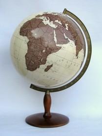 Globus 420mm antyczny podświetlany drewniana stopka GŁOWALA 2939