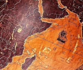 Globus 420 żaglowce wysoka stopka podświetlany GŁOWALA 0645