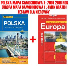 POLSKA mapa samochodowa 1:700t 2016 + mapa EUROPA GRATIS !