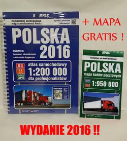 POLSKA ATLAS SAMOCHODOWY 2016 + MAPA POLSKI KODY POCZTOWE GRATIS !! PWN