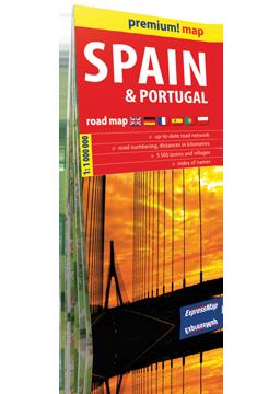 HISZPANIA I PORTUGALIA  mapa samochodowa w kartonowej okładce 1:1 000 000 wersja angielska  EXPRESSMAP 2016