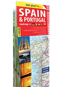 HISZPANIA I PORTUGALIA papierowa mapa samochodowa 1:1 000 000 wersja angielska  EXPRESSMAP 2016