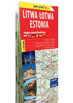 LITWA ŁOTWA ESTONIA mapa samochodowa w kartonowej okładce 1:700 000 EXPRESSMAP 2016