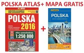 POLSKA ATLAS samochodowy 1:250 000 PWN + MAPA POLSKI 2016