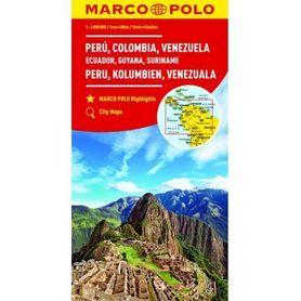 PERU KOLUMBIA WENEZUELA EKWADOR GUJANA SURINAM mapa samochodowa 1:4 000 000 MARCO POLO ZOOM 2017