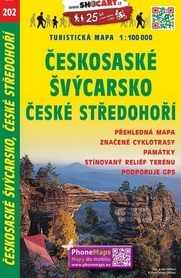 202 SZWAJCARIA CZESKA CZESKIE ŚRÓDGÓRZE CZECHY mapa turystyczna 1:100 000 SHOCART