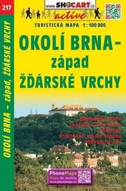 217 BRNO I OKOLICE część ZACHODNIA GÓRY ZDZIARSKIE CZECHY mapa turystyczna 1:100 000 SHOCART