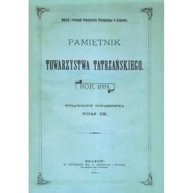 PAMIĘTNIK TOWARZYSTWA TATRZAŃSKIEGO TOM IX 1884 rok