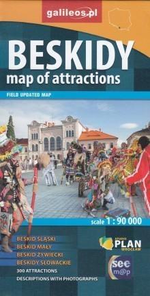 BESKIDY mapa atrakcji 1:90 000 wersja angielska STUDIO PLAN