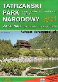 TATRZAŃSKI PARK NARODOWY ZAKOPANE mapa turystyczna / plan miasta 1:25 000/1:15 000 KARTA