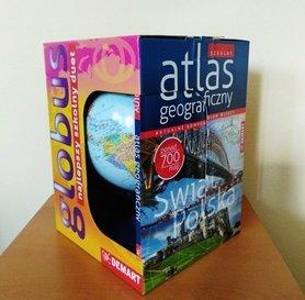 Szkolny atlas geograficzny z globusem ATLAS I GLOBUS DEMART
