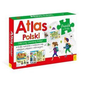 PAKIET ATLAS POLSKI Atlas + plakat z mapą + puzzle WILGA