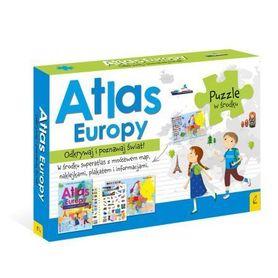 PAKIET ATLAS EUROPY Atlas + plakat z mapą + puzzle WILGA