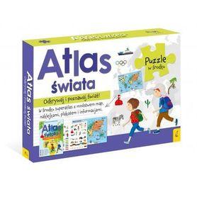 PAKIET ATLAS ŚWIATA Atlas + plakat z mapą + puzzle WILGA