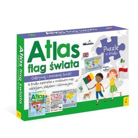 PAKIET ATLAS FLAG ŚWIATA Atlas + plakat z mapą + puzzle WILGA