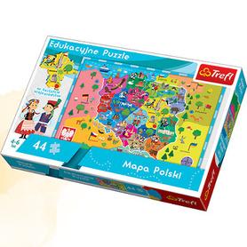 MAPA POLSKI DLA DZIECI Puzzle edukacyjne 44 elementy TREFL