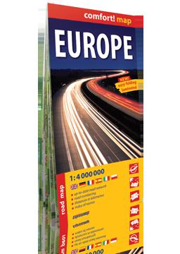 EUROPA 2019 laminowana mapa samochodowa 1:4 000 000 wersja angielska EXPRESSMAP