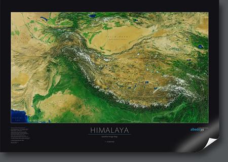 2a41bfb6deab3 HIMALAJE ścienna mapa satelitarna 1:4 000 000 ALBEDO39