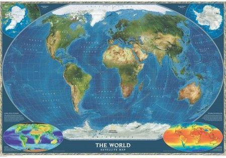 Swiat Mapa Satelitarna Satellite World Map Mapa Scienna Laminowana