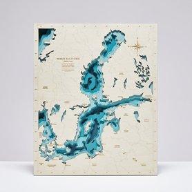 MAPA BAŁTYKU MORZE BAŁTYCKIE trójwymiarowa mapa z drewna bez ramy