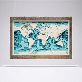 MAPA ŚWIATA W RAMIE trójwymiarowa mapa z drewna