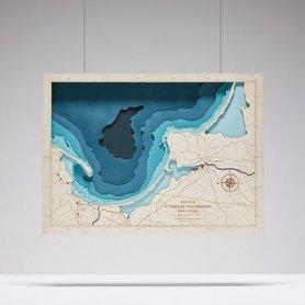 MAPA ZATOKI GDAŃSKIEJ XL trójwymiarowa mapa z drewna bez ramy