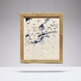 MAPA POLSKI I BAŁTYKU W RAMIE trójwymiarowa mapa z drewna
