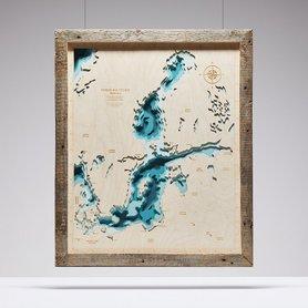 MAPA BAŁTYKU MORZE BAŁTYCKIE W RAMIE trójwymiarowa mapa z drewna