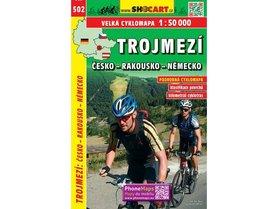 502 TRÓJSTYK CZECHY NIEMCY  AUSTRIA JEZIORO LIPNO mapa turystyczna rowerowa 1:50 000 SHOCART