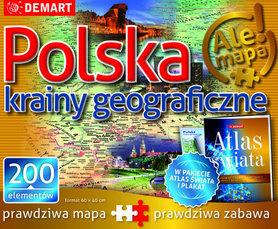 POLSKA KRAINY GEOGRAFICZNE PUZZLE PLUS ATLAS GEOGRAFICZNY DEMART