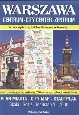 WARSZAWA kieszonkowy plan CENTRUM miasta 1:7 000 GAUSS