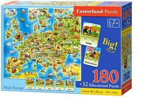MAPA EUROPY PUZZLE 180 + 32 ELEMENTY CASTORLAND