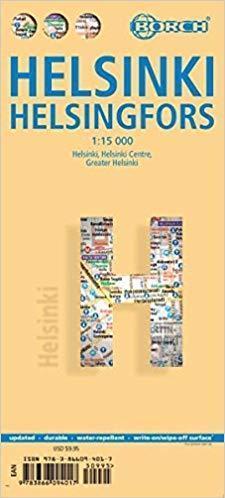 HELSINKI laminowany plan miasta 1:15 000 BORCH VERLAG