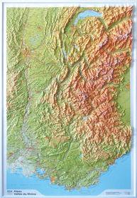 ALPY DOLINA RODANU mapa plastyczna / reliefowa 1:375 000 IGN