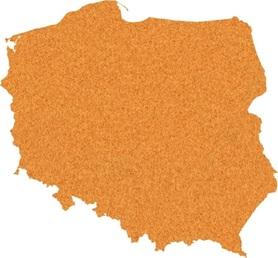 SAMOPRZYLEPNA KORKOWA MAPA POLSKI 64,5 x 70 cm