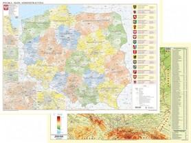 POLSKA dwustronna mapa ścienna fizyczno-administracyjna 1:700 000 EKO-GRAF 2019