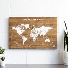 DREWNIANA MAPA ŚWIATA rozmiar L 60 x 40 cm Miss Wood