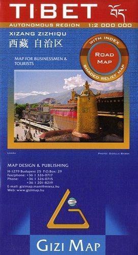 TYBET mapa samochodowa 1:2 000 000 GIZIMAP (Tybet Road Map)