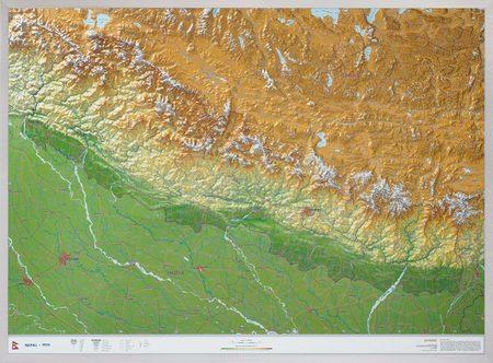 NEPAL mapa plastyczna w ramie 1:1 150 000 GEORELIEF (1)
