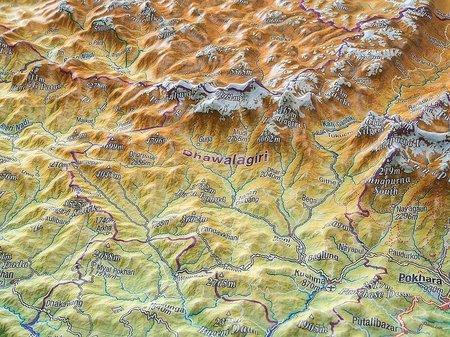 NEPAL mapa plastyczna w ramie 1:1 150 000 GEORELIEF (3)