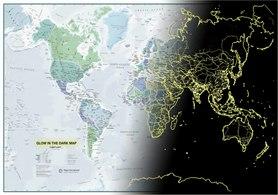 ŚWIAT mapa ścienna świecąca w ciemności Maps International