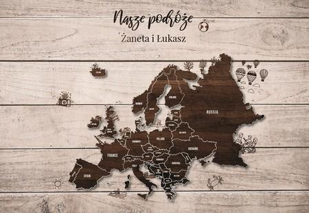 EUROPA NA DREWNIE MAPA PERSONALIZOWANA NA KORKU 40 x 60 cm (1)